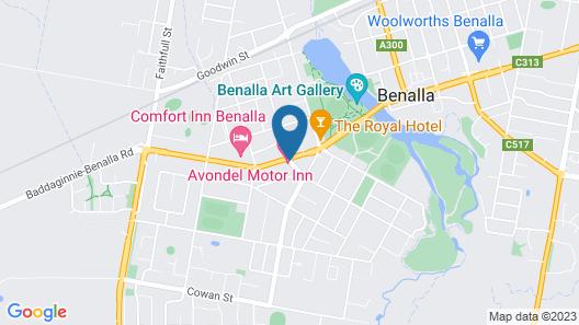 Avondel Motor Inn, Benalla Map