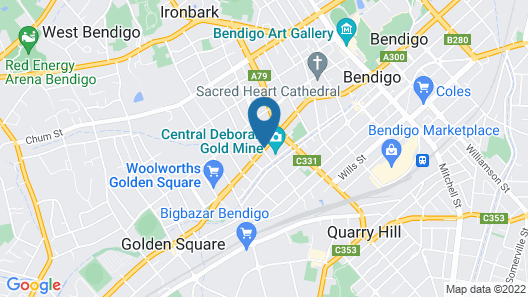 National Hotel Complex and Bendigo Central Apartments Map