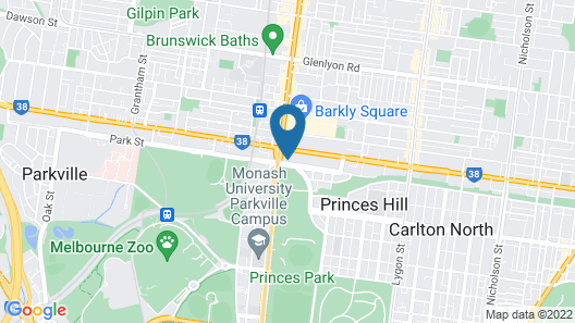 Melbourne's Princes Park Motor Inn Map