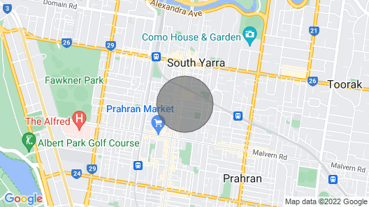 Modern 2 Bedroom Apartment With City View in South Yarra Map