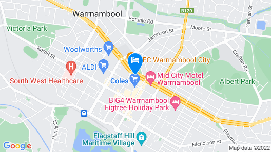 Central Court Motel Warrnambool Map