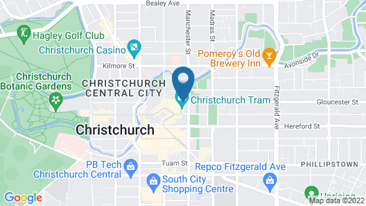 Rendezvous Hotel Christchurch Map