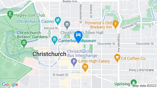 Rendezvous Hotel Christchurch Map
