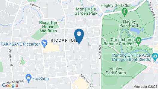 The Ashley Hotel Christchurch Map