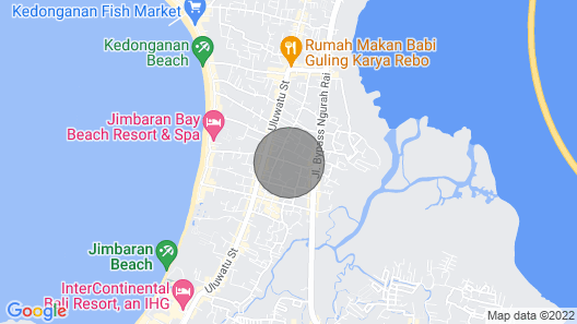 Denays Bali Close to beach and Airport Map
