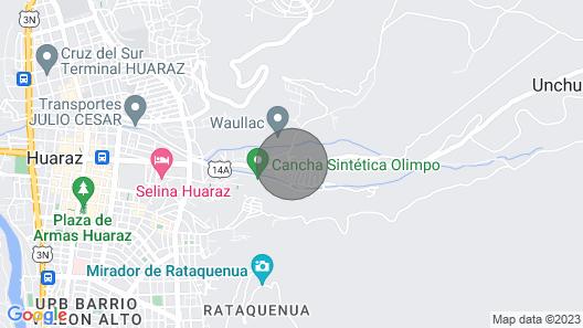 Santa Cruz Hostel B&B - in the City Centre Huaraz Map