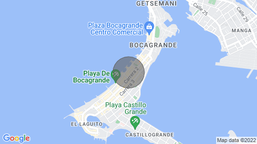 1BR Beach Front Luxury Apt Jacuzzi 32fl Bocagrande Map
