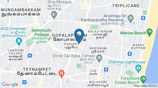 Group acco in the heart of Chennai ( 8 bed & bath -16 guests ). Map