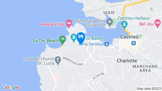 Vantage La Toc -villa With Spectacular Caribbean Sea Views, 10 min Walk to Beach Map