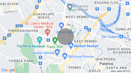 Corner Unit -the Fort 1BR Across Uptown Mall- Fiber Internet & Projector Screen Map