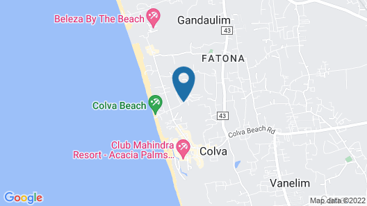 The Golden Crown Hotel & Spa, Colva Map