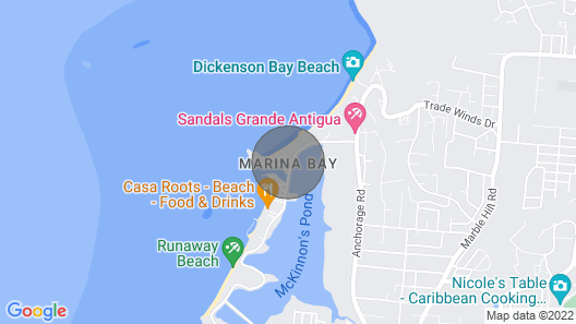 Perfect Beach Vacation Rental on Dickenson Bay Map