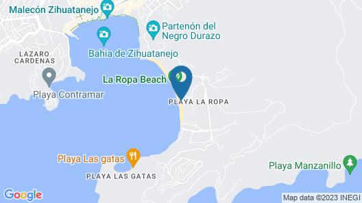 Beachfront Luxury 3BR Villa, Playa La Ropa - Zihuatanejo Map
