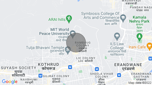 Pvt AC room in Pvt bungalow + Garden + Sitout with nature view, Pune Map