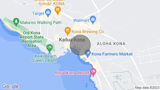 Kona Studio Near Beach, Dining & Ironman Pier Map