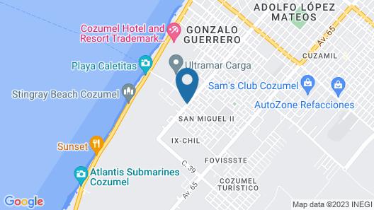 Coco Suites Cozumel Map