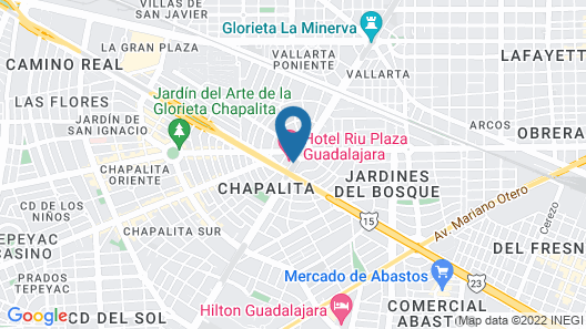 Hotel Riu Plaza Guadalajara Map