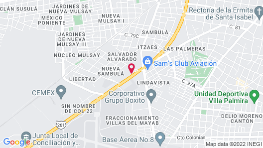 Hotel Hacienda Inn Aeropuerto Map