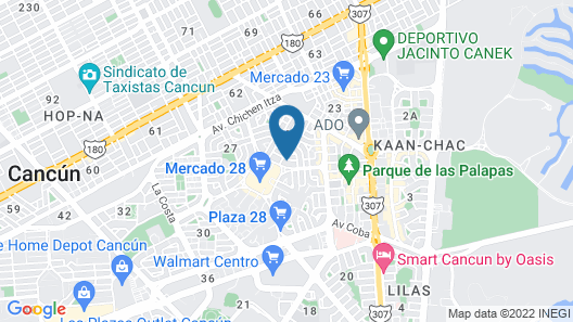 2Rooms With kitchenette Cancún Downtown(Market 28) Map