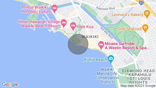 Ocean View w/Kitchenette, Private Lanai, Washer/Dryer, WiFi, AC, –Waikiki Shore 1314 Map