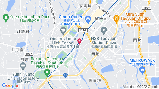 Bluewater Hotel: Xpark. Gloria Outlets. Taoyuan Baseball Stadium. Map