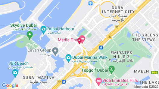 Media One Hotel Dubai Map