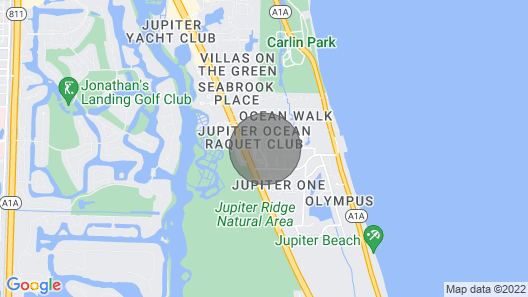 Development is Across the Street From Beautiful Jupiter Beach & Blue Water Map
