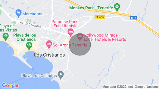 Spacious Studio Apartment in Port Royale, Los Cristianos, Tenerife Sleeps 4 Map