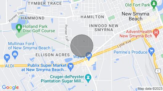 New Smyrna Beach Cozy Pool Home, Beach, Shopping & Restaurants Map