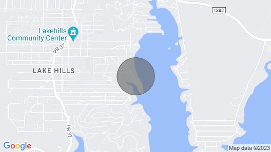 Waterfront Lakehills Home w/ Pvt Dock & Lake Views Map