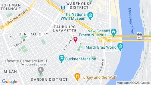Prytania Oaks Hotel Map