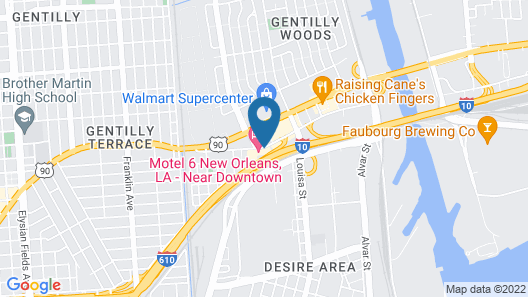 Motel 6 New Orleans, LA - Near Downtown Map