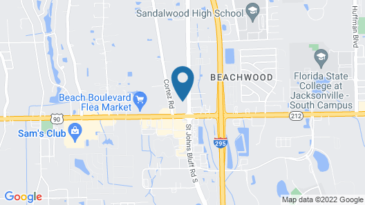 InTown Suites Extended Stay Jacksonville FL - St. Johns Map