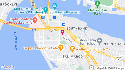 Homewood Suites by Hilton Jacksonville Downtown-Southbank Map