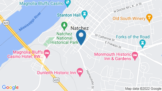 The Pillars in Natchez Bed and Breakfast Map