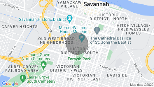 Historic Studio Carriage House Blocks from Forsyth by Lucky Savannah Map
