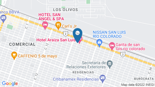 Hotel Araiza San Luis Map