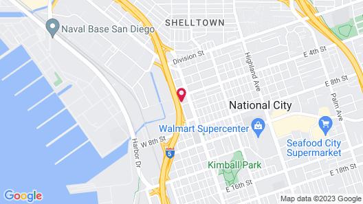 Studio 6 National City, CA - Naval Base San Diego Map