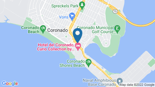 El Cordova Hotel on Coronado Island Map
