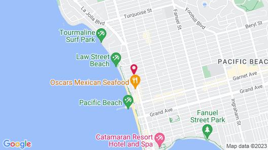 PB Surf Beachside Inn Map