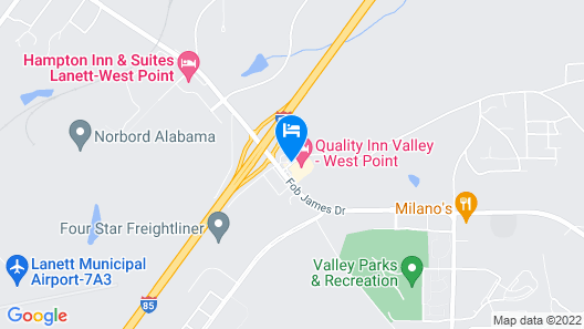 Quality Inn Valley - West Point Map