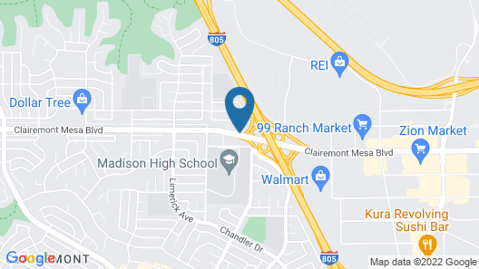 Motel 6 San Diego, CA - North Map