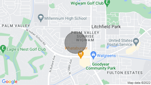 New! Spacious Goodyear Retreat - Walk to Wigwam! Map