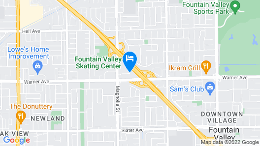 Motel 6 Fountain Valley, CA - Huntington Beach Area Map