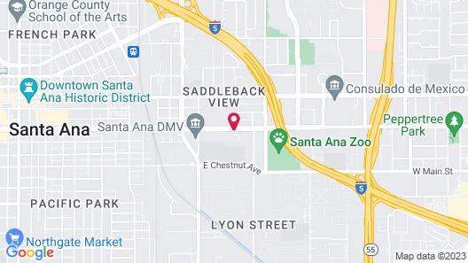 Holiday Inn Express And Suites Santa Ana - Orange County Map