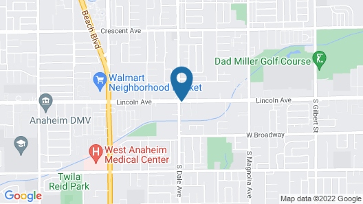 Anaheim National Inn Map