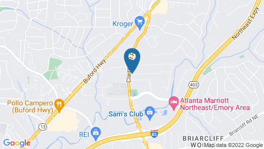 Extended Stay America Atlanta - Clairmont Map
