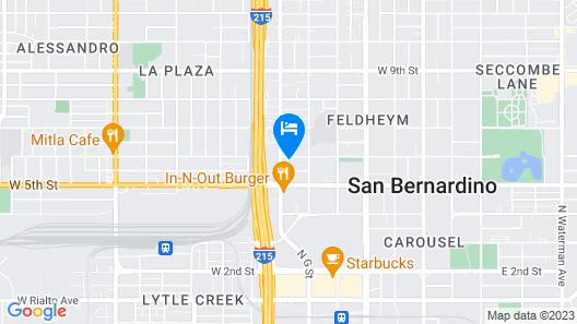 Motel 6 San Bernardino, CA - Downtown Map