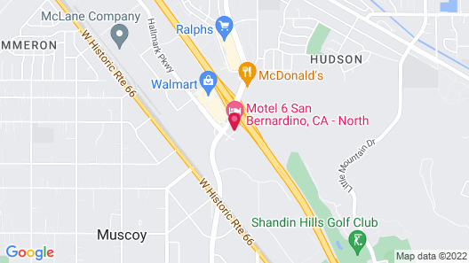 Motel 6 San Bernardino, CA - North Map
