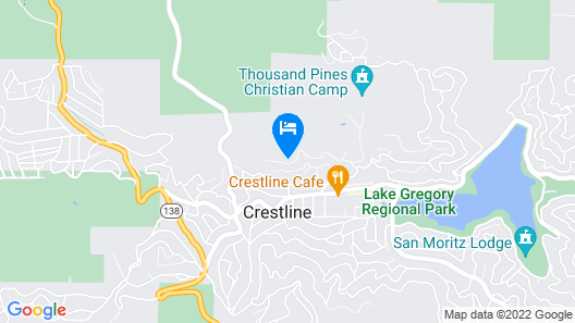 NEW! Cozy Cabin w/Mtn Views: Walk to Lake Gregory! Map